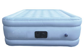 blue air mattress side profile