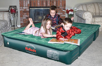 Kids laying on Lite-truck airbed