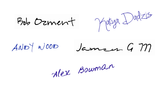 signatures of team members