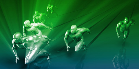 super athlete illustration green