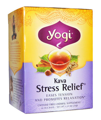 Image of a box of the best-rated kava tea - yogi stress relief