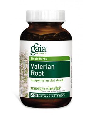 gaia herbs valerian phyto capsules bottle