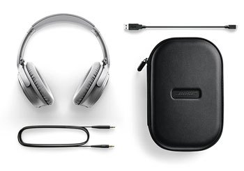 Bose QuietComfort 35 silver cables and carry set