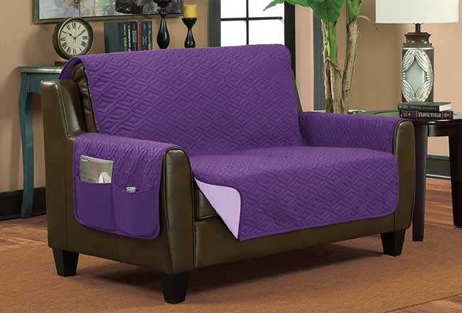bella kline reversible couch protector purple