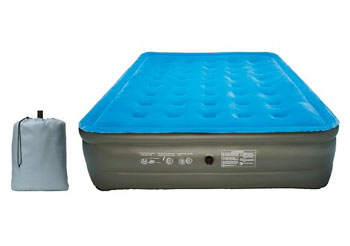 embark air mattress queen - blue top gray sides, inflated