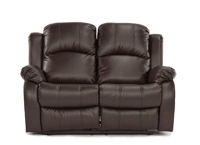 Leather Recliner Sofa Front View Brown