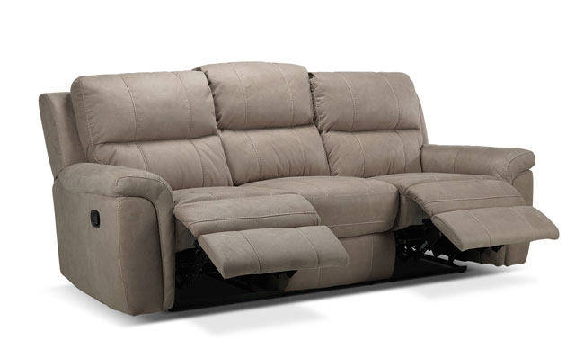 three seat reclining sofa beige