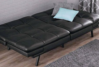 black pu leather memory foam filling futon