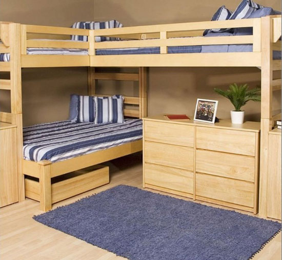 l shaped bunk bed with desk