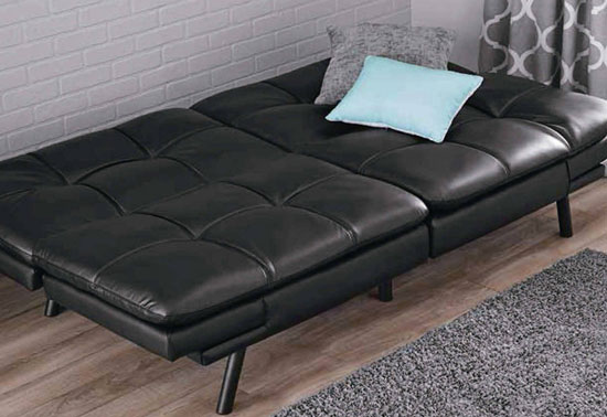 mainstay black pu leather futon