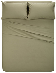 pinzon signature flannel sheet set top view on bed