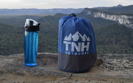 tnh sleeping pad packed compared to water bottle size