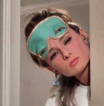 audrey hepburn wearing holy golightly mask in breakfast at tiffanys