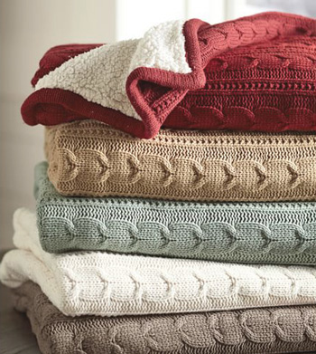 cable knit blankets various colors