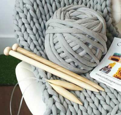 jumbo knit needles on chair