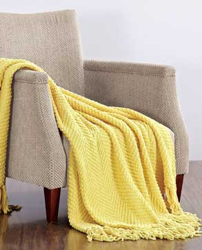 knit throw blanket tweed yellow gray