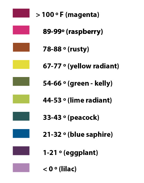 temperature blanket color chart