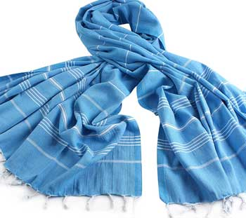 turkish cotton throw blue