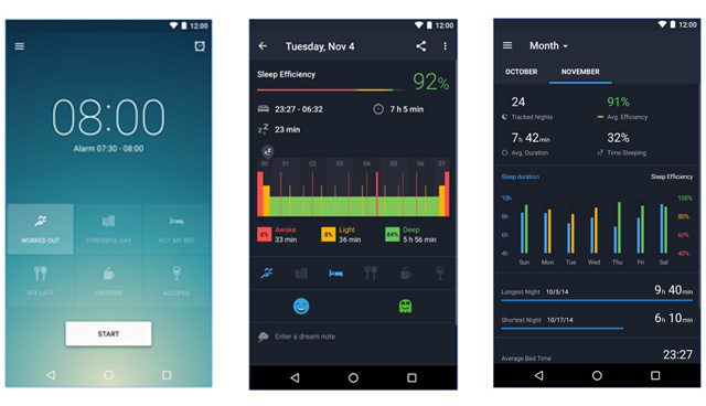 runtastic sleep better app interface