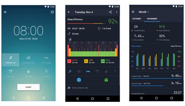 runtastic sleep better app interface