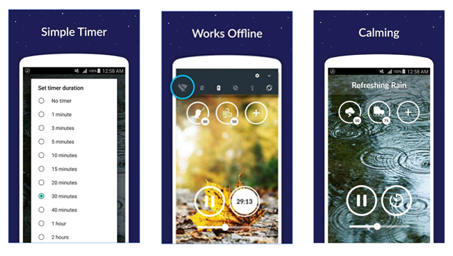 sleep sounds app modes screenshots collage
