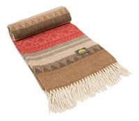 alpaca throw - red, orange, gray, beige