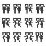 couple sleep positions pictogram