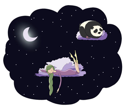 girl sleeping with braided hair illustration