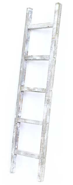 5ft white rustic blanket ladder