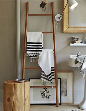 bamboo blanket stand in bathroom