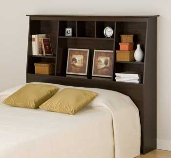 prepac espresso full sized headboard with storage for books
