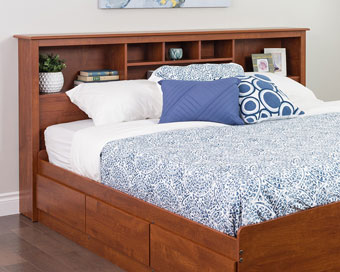 prepac sonoma headboard bookcase king