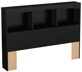 pure black full size headboard for book storage