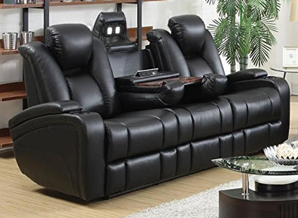 coaster power reclining sofa black