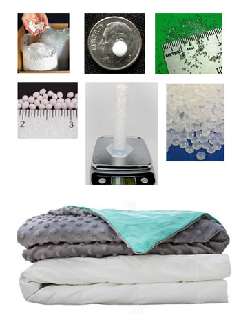 glass beads and plastic pellets for weighted blanket buying choosing infographic
