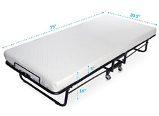 Milliard premium folding guest bed with memory foam mattress