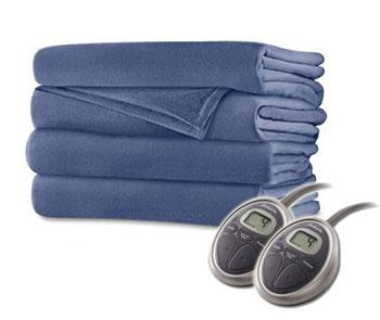 sunbeam warm fleece blanket blue